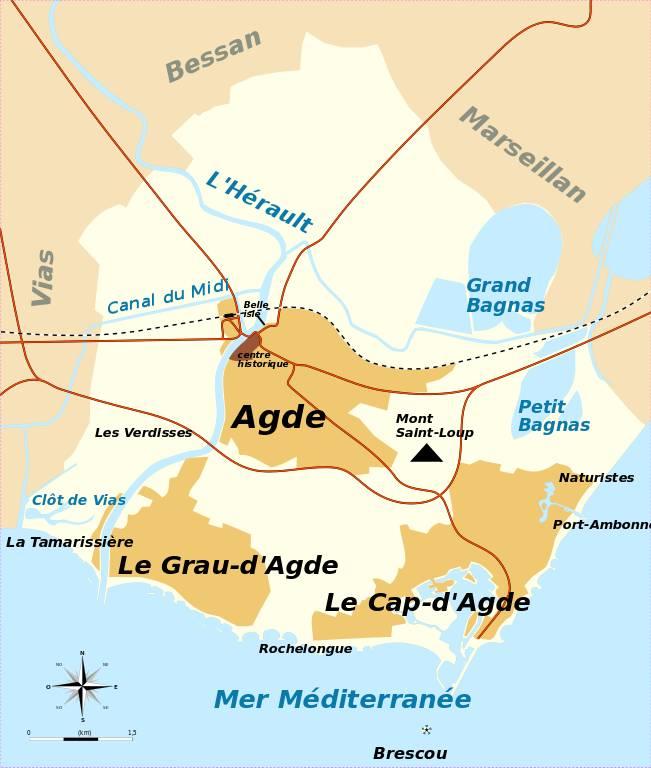 Le territoire de la ville d'Agde